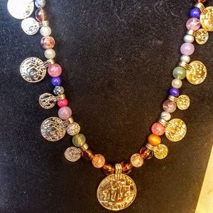 Jewelry - Vintage half penny coin glass beaded necklace